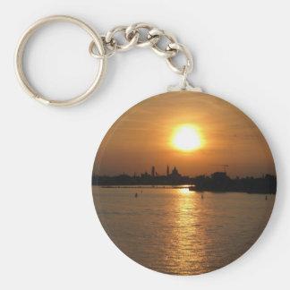 Photography of Romantic Venice Sunset Basic Round Button Key Ring