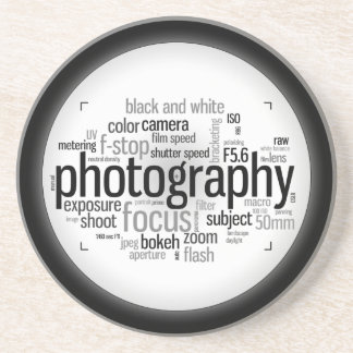 Photography Terms Word Collage Coasters