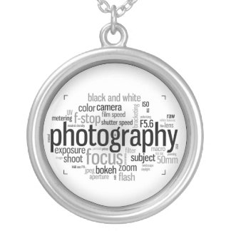 Photography Terms Word Collage Round Necklace
