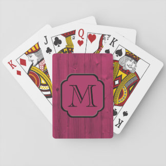 Photorealistic Magenta Painted Wood, Monogrammed Poker Deck