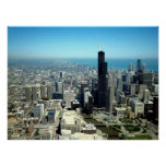 Photos of Chicago: Aerial view skyline Poster