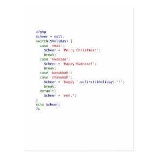 PHP Holiday Tall Postcard