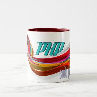 PHP- Red Orange Gray Smooth wave Mugs