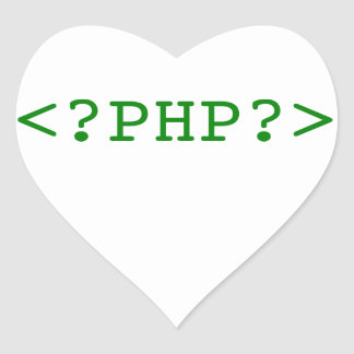 PHP Tags Heart Sticker