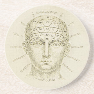 Phrenology Coaster, Antique Illustration Coaster