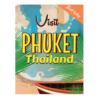 Phuket Thailand vintage travel poster Postcard