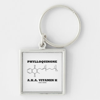 Phylloquinone A.K.A. Vitamin K (Chemical Molecule) Silver-Colored Square Key Ring