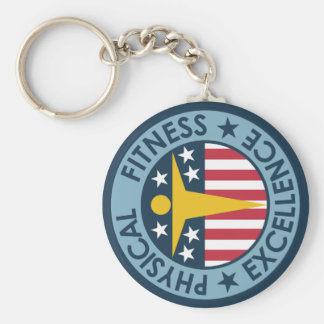 Physical Fitness Excellence Basic Round Button Key Ring