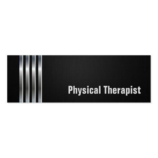 Physical Therapist - Black Silver Stripes Business Card