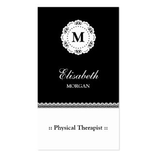 Physical Therapist Black White Lace Monogram Pack Of Standard Business Cards