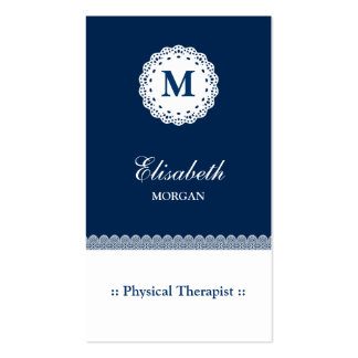 Physical Therapist Blue White Lace Monogram Pack Of Standard Business Cards