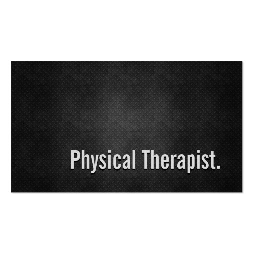 Physical Therapist Cool Black Metal Simplicity Business Card Templates