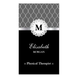 Physical Therapist Elegant Black Lace Pattern Pack Of Standard Business Cards