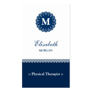 Physical Therapist Elegant Blue Lace Monogram Pack Of Standard Business Cards