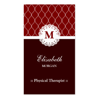 Physical Therapist Elegant Brown Lace Pattern Pack Of Standard Business Cards