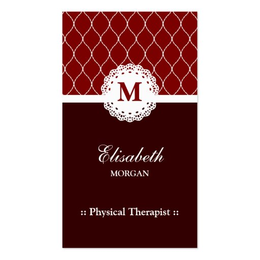 Physical Therapist Elegant Brown Lace Pattern Business Card Template