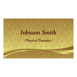 Physical Therapist - Elegant Gold Damask Pack Of Standard Business Cards