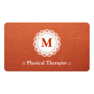 Physical Therapist Elegant Lace Monogram Pack Of Standard Business Cards