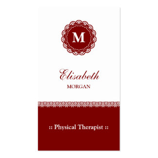 Physical Therapist Elegant Red Lace Monogram Pack Of Standard Business Cards