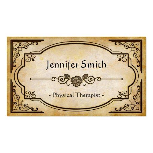 Physical Therapist - Elegant Vintage Antique Business Card