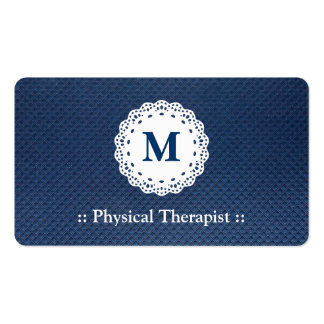 Physical Therapist Lace Monogram Blue Pattern Pack Of Standard Business Cards