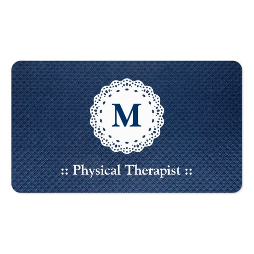 Physical Therapist Lace Monogram Blue Pattern Business Card Templates
