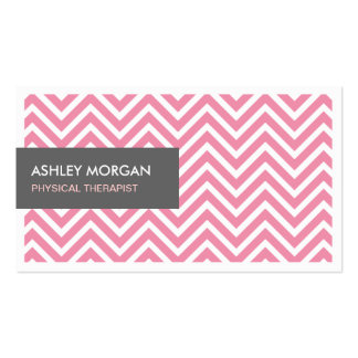 Physical Therapist - Light Pink Chevron Zigzag Business Card Template
