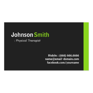 Physical Therapist - Modern Minimalist Green Pack Of Standard Business Cards