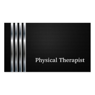 Physical Therapist Professional Black Silver Pack Of Standard Business Cards