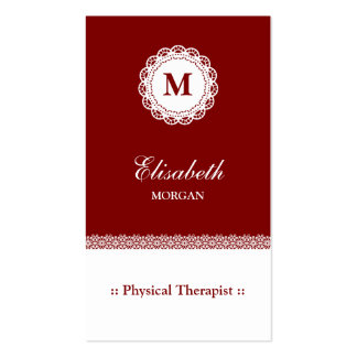Physical Therapist Red White Lace Monogram Pack Of Standard Business Cards