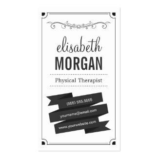 Physical Therapist - Retro Black and White Business Card
