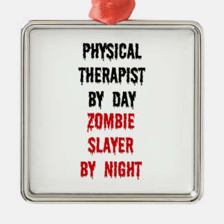Physical Therapist Zombie Slayer Silver-Colored Square Decoration