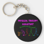 Physical Therapy Assistant Stick People Design Keychains