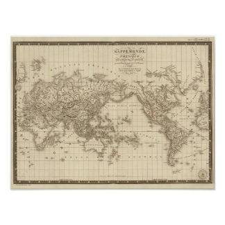 Physical world map poster