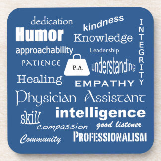 Physician Assistant-Word Cloud/Blue Beverage Coaster