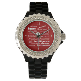 Physician Assistant-Word Cloud/Tomato Red Wrist Watches