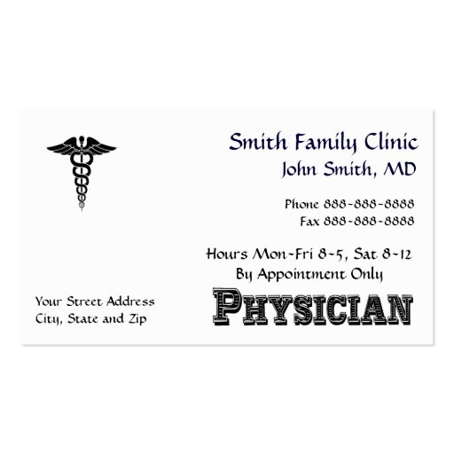 Physician Doctor Medical Symbol Business Card