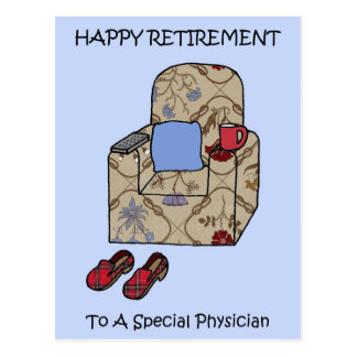 Physician happy retirement. postcard