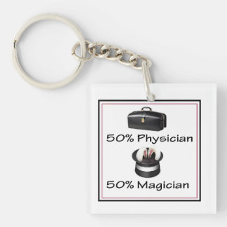 physician magician gift Single-Sided square acrylic key ring