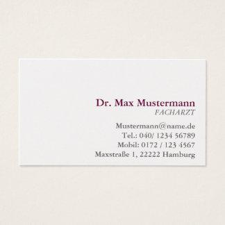 Physician visiting card