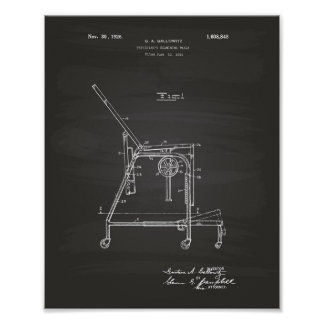 Physicians Table 1926 Patent Art Chalkboard Poster
