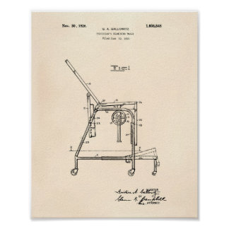 Physicians Table 1926 Patent Art Old Peper Poster