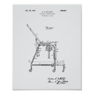 Physicians Table 1926 Patent Art White Paper Poster