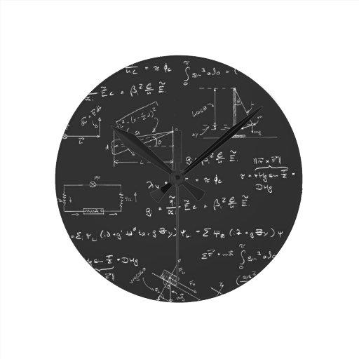 Physics diagrams and formulas round wall clock