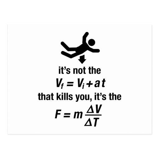 physics - it's the sudden deceleration that kills postcard