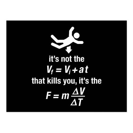 physics - it's the sudden deceleration that kills  post card
