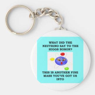 physics basic round button key ring