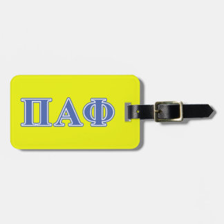 Pi Alpha Phi Blue Letters Luggage Tag