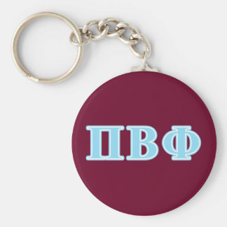 Pi Beta Phi Blue Letters Basic Round Button Key Ring