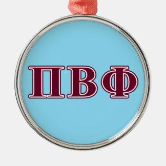 Pi Beta Phi Maroon Letters Metal Ornament